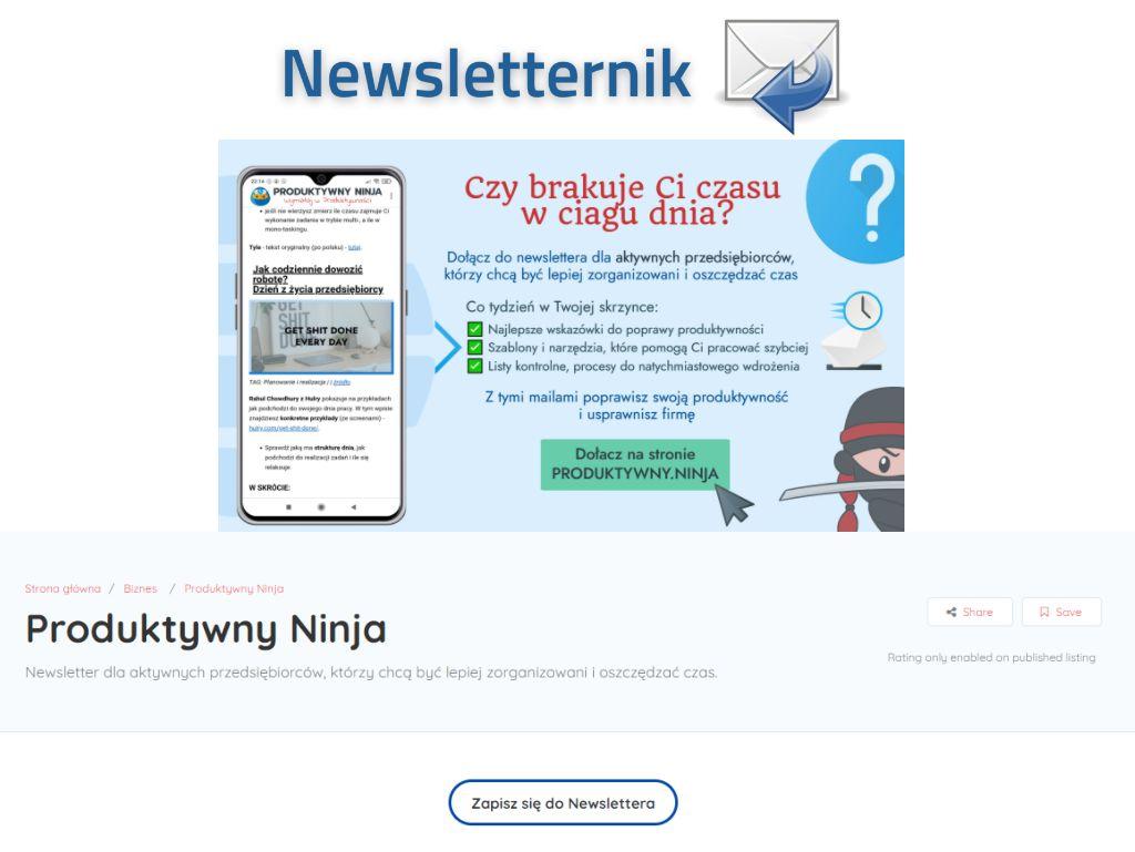 Produktywny Ninja katalog newsletternik