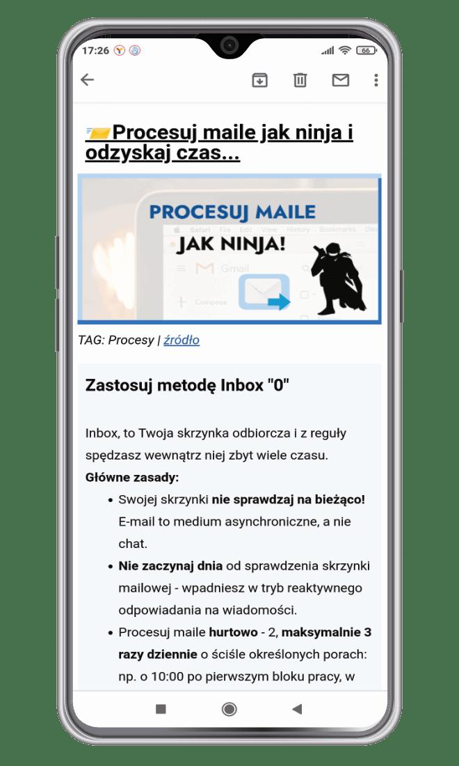 produktywność newsletter przykład maila
